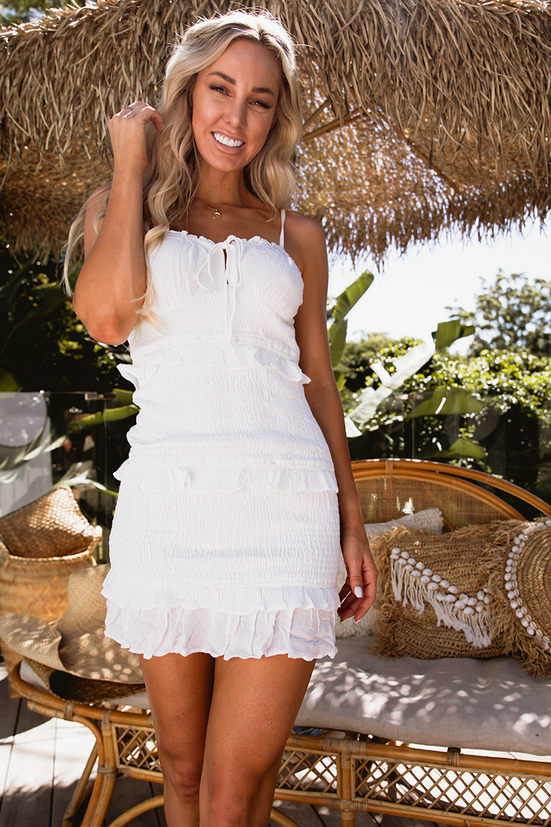 Mia Shirred Dress (White)