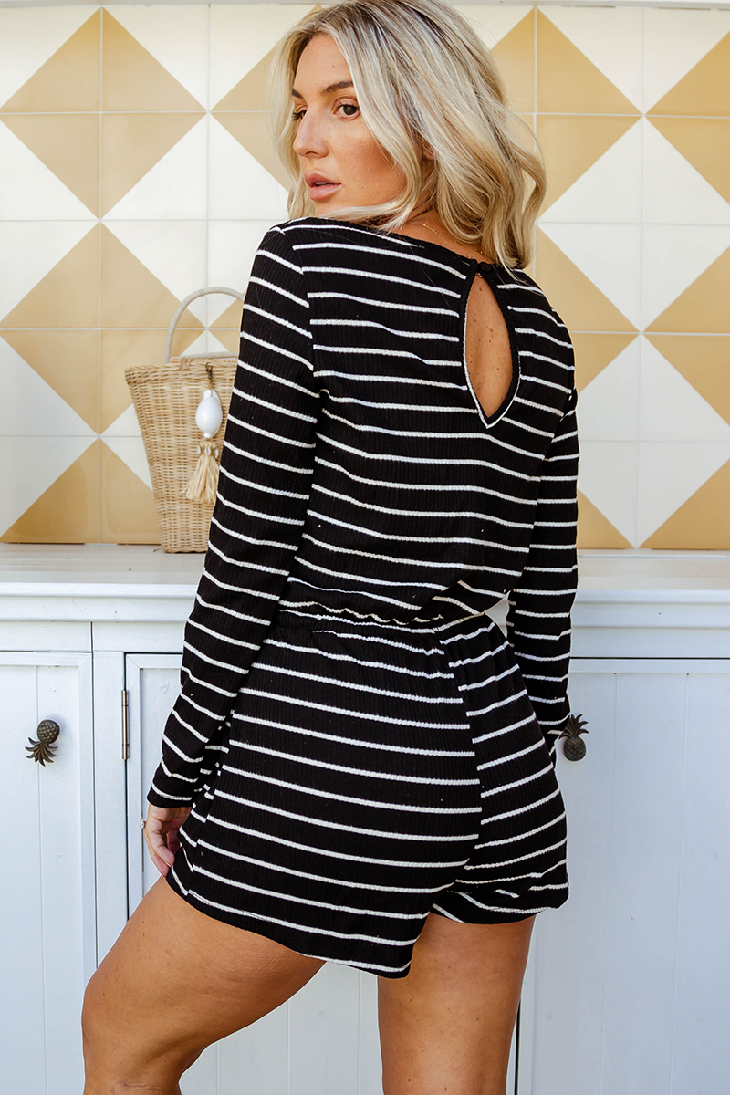 Karina Striped Playsuit (Black/Stripe)