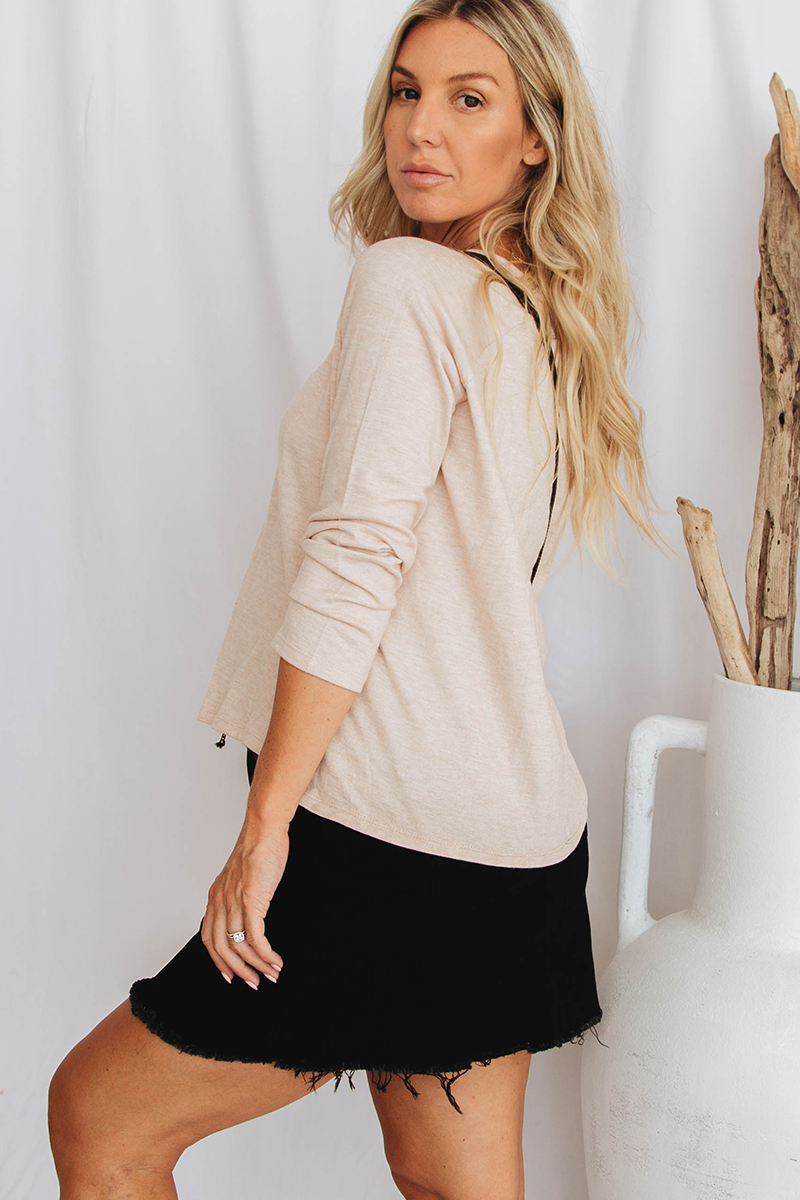 Kaitlyn Long Sleeve Top (Beige)