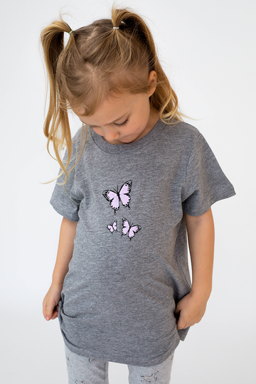 KIDS Triple Butterfly Tee (Grey)