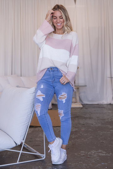 Romy Striped Jumper (Pink/White)