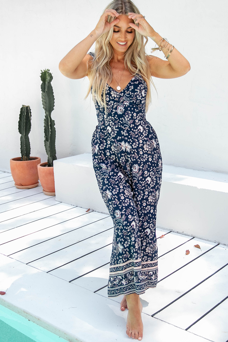 Nia Floral Jumpsuit (Navy)