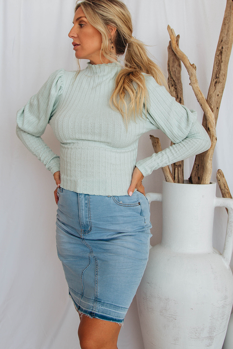 Naila Puffed Sleeve Top (Mint)