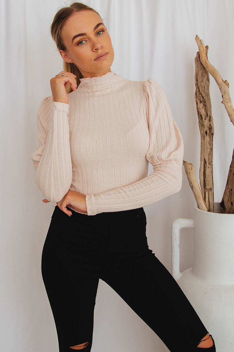 Naila Puffed Sleeve Top (Blush)