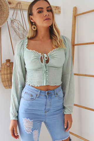 Maria Long sleeve Top (Mint)