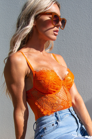Khloe Lace Bodysuit (Orange)