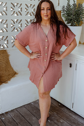 Kaylie Shirt Dress (Rust)