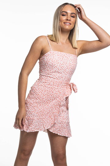 Sophia Wrap Dress (Peach)