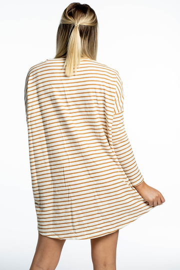 Lucy Ribbed Dress (Tan Stripes)