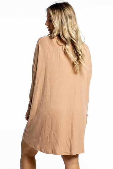 Lucy Ribbed Dress (Tan)