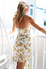 Sienna Print Dress (White/Mustard)