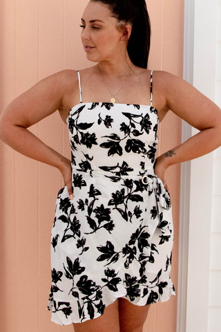 Raquel Wrap Dress (Black/White)
