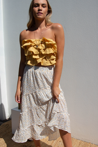 Marigold Maxi Skirt (Yellow Floral)