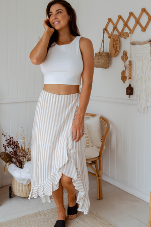 Halle Stripe Maxi Skirt (Mocha/White)