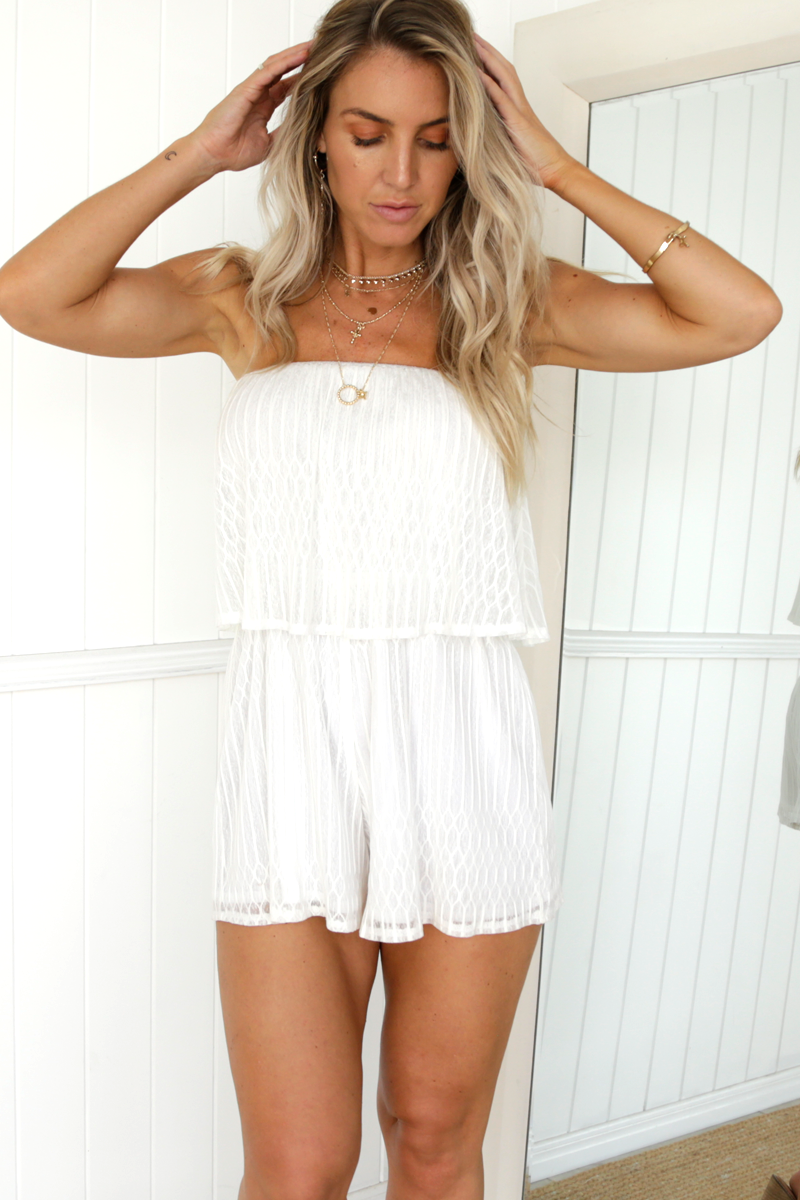 Cali Lace Playsuit (White)