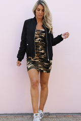 Kira Camo Dress (Army Green)