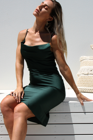 Penelope Slip Dress (Emerald Green)