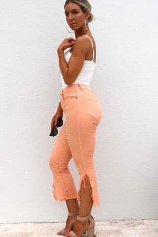 Indi Denim Cut Offs (Peach)