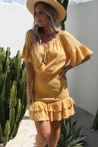 Jayda Ruched Dress (Mustard)