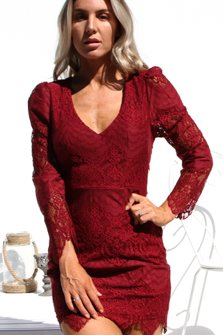 Rosa Lace Dress (Burgundy)