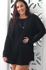 Lucy Ribbed Dress (Black)