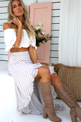 Halle Stripe Maxi Skirt (Mocha/White stripes)
