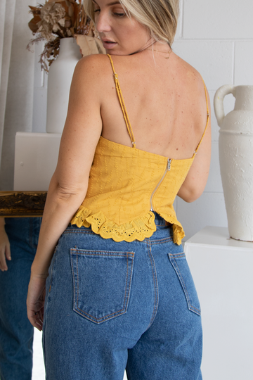 Laia Lace up Top (Mustard)