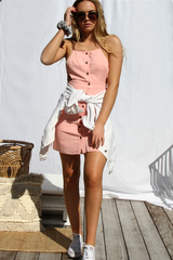 Neva Button Up Dress (Pink)