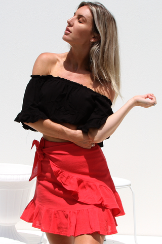 Piper Wrap Skirt (Red)