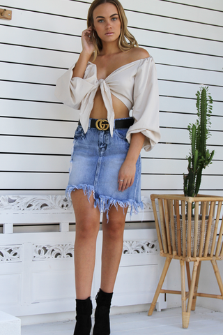 Hailey Denim Skirt (Dark Denim)