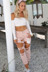 Calabasas Ripped Denim Jeans (Pink)