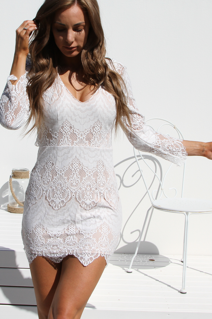 Rosa Lace Dress (White)