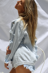 Roxy Oversized Denim Jacket (Blue)