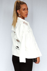 Roxy Oversized Denim Jacket (White)