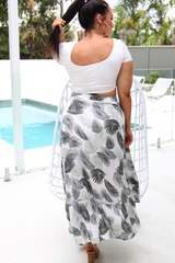 Mena Wrap Skirt (White/Green)