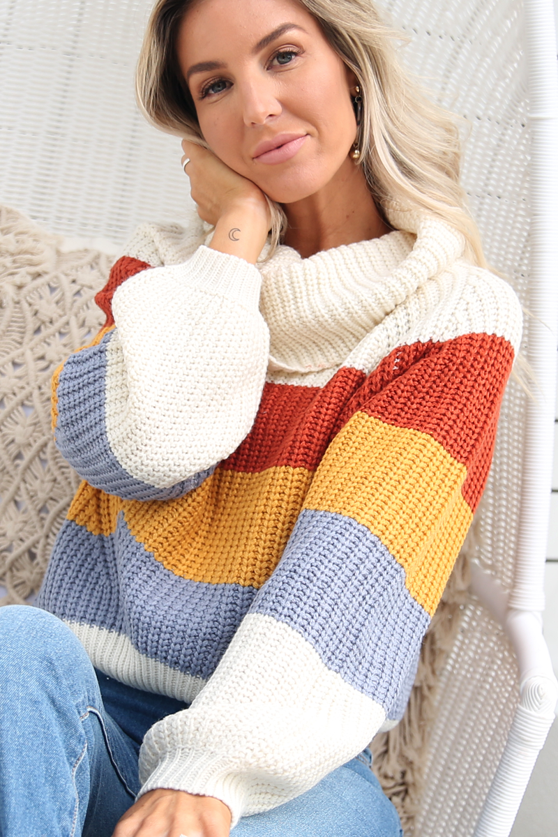 Lily Rose Knit (Rust Stripe)