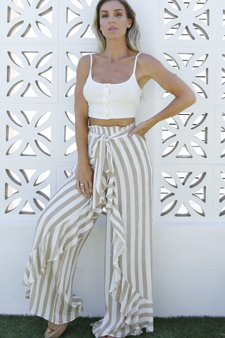 Spell Wrap Pants (Beige/White Stripes)