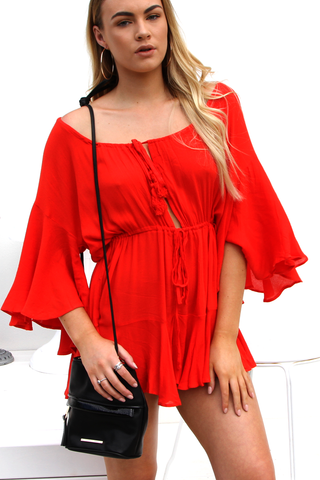 Tahiti Red Playsuit