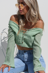 Harlow Lace Up Top (Olive)