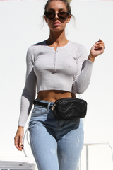 Hannah Ribbed Top (Grey)