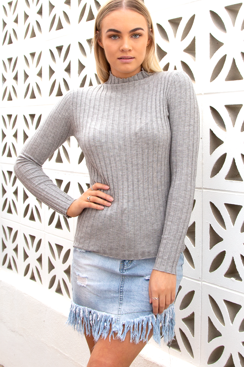 Macy Knit Top (Grey)