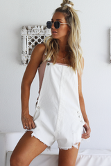 Myra Denim Overalls (White)