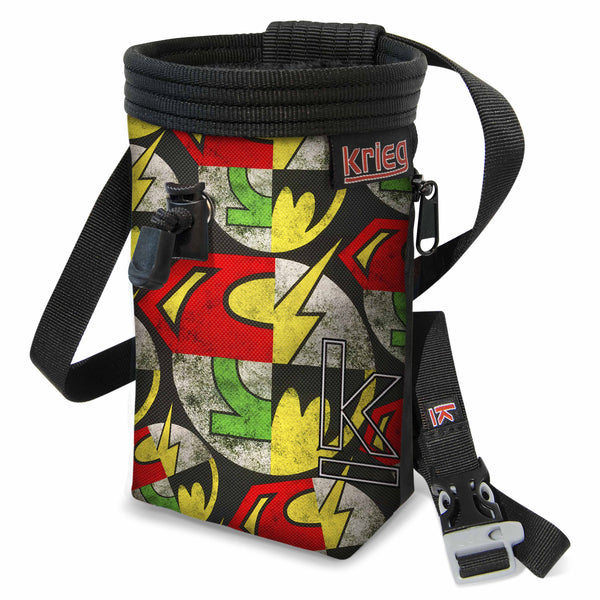 Super Hero collage chalk bag Krieg Climbing