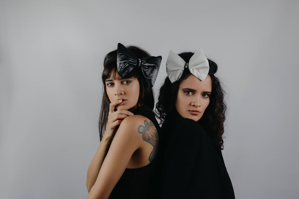 Taffeta Solid Bows | Gray & Black