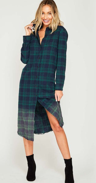 Ombré Plaid Shirt Dress