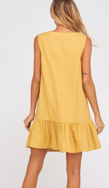 Ruffle Hem Shift Dress - The Green Shelf Boutique
