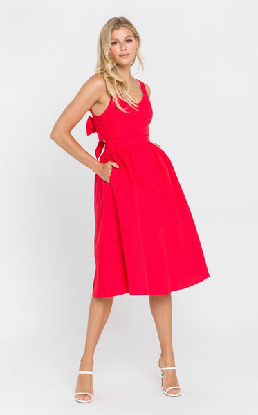 Poplin Tie Back Midi Dress