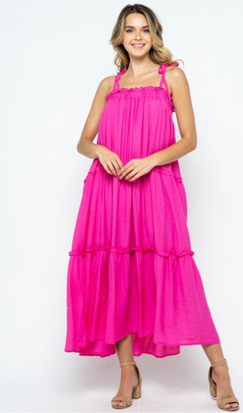 Tiered Maxi Dress with Ties