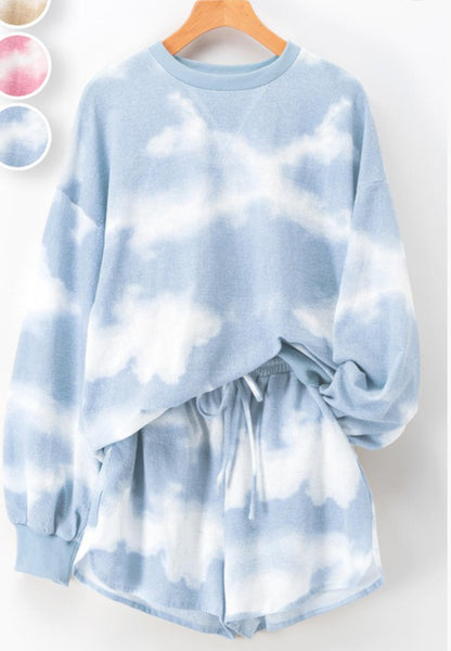 Tie Dye Blouson Sleeve  Sweatshirt - The Green Shelf Boutique