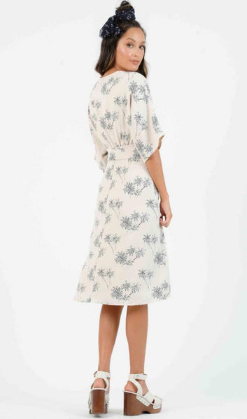 Palm Print Tie Waist Dress - The Green Shelf Boutique